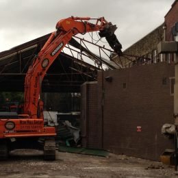 Our team beginning to dismantle a roof