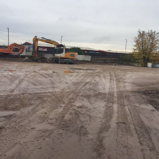 Demolition site after clearance by Ron Hull Ltd