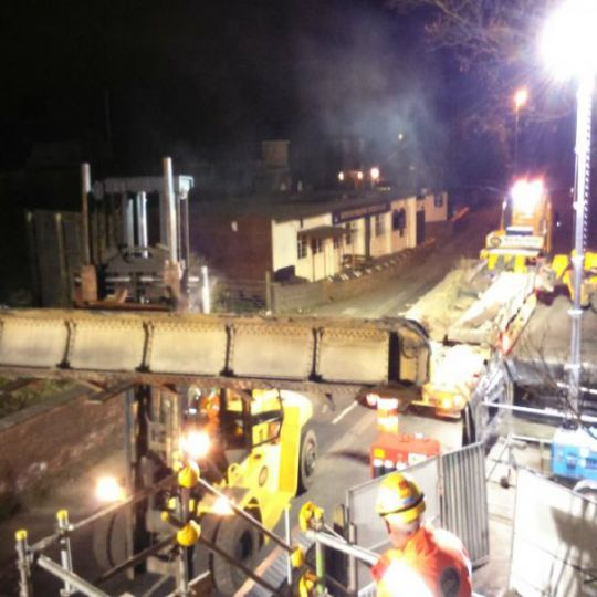 Industrial equipment removal at night