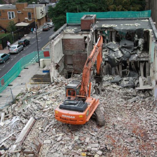 View from above of a building being demolished